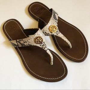 Tory Burch Snake Print Leather Sandals